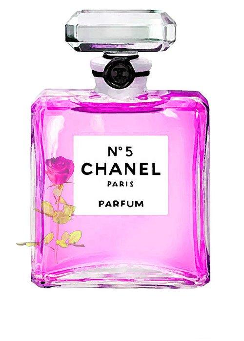 Chanel Perfume Art Print Chanel Painting Print Greeting Card featuring the digital art Chanel N 5 Perfume Print by Del Art