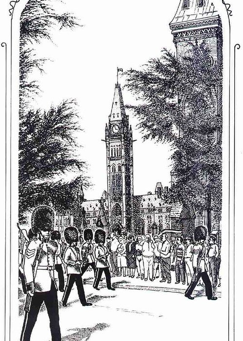 Cityscape Greeting Card featuring the mixed media Changing Of The Guard Ottawa 1995 by John Cullen