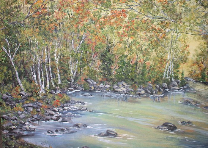Fall Greeting Card featuring the painting Changing Seasons by Bev Neely