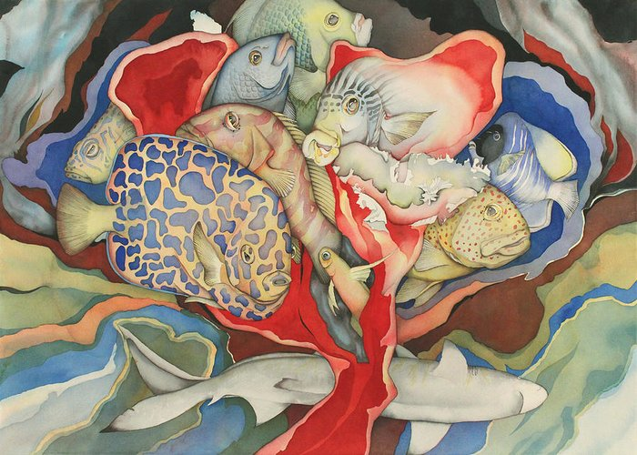 Sealife Greeting Card featuring the painting Chanson D'amour by Liduine Bekman
