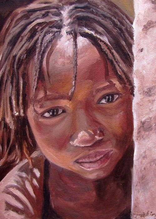 African Girl Greeting Card featuring the painting Chantal by Tahirih Goffic