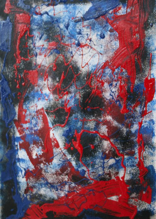Abstract Greeting Card featuring the painting Chaos by Mordecai Colodner