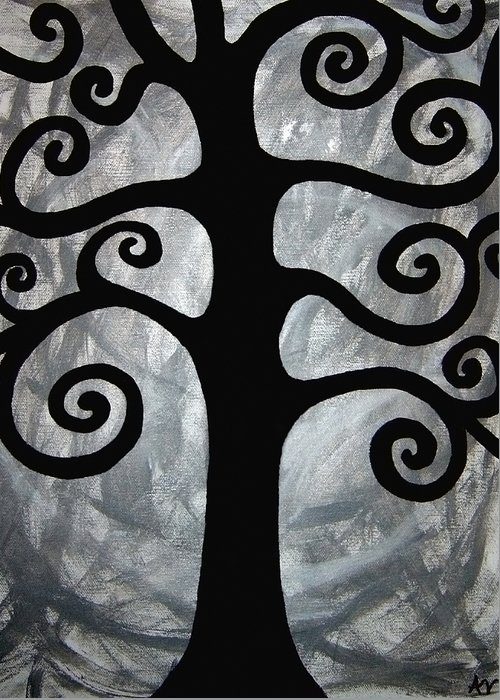 Abstract Tree Greeting Card featuring the painting Chaos Tree by Angelina Vick