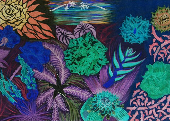 Fantasy Landscape Greeting Card featuring the painting Chaotic Beauty Invert by Rocqui Charlez