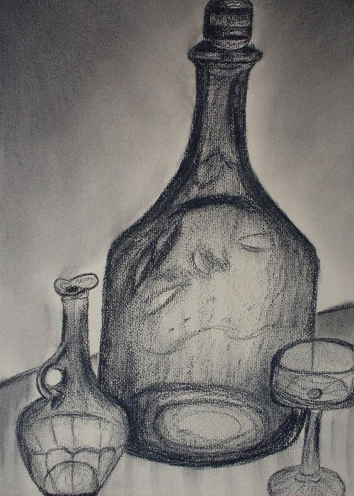 Bottles Glass Drawings Greeting Card featuring the drawing Charcoal Glass by Emily Ruth Thompson