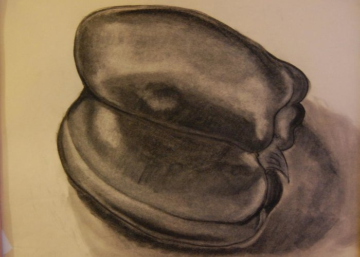 Still Life Greeting Card featuring the drawing charcole drawing Bell Pepper by Michele Edler