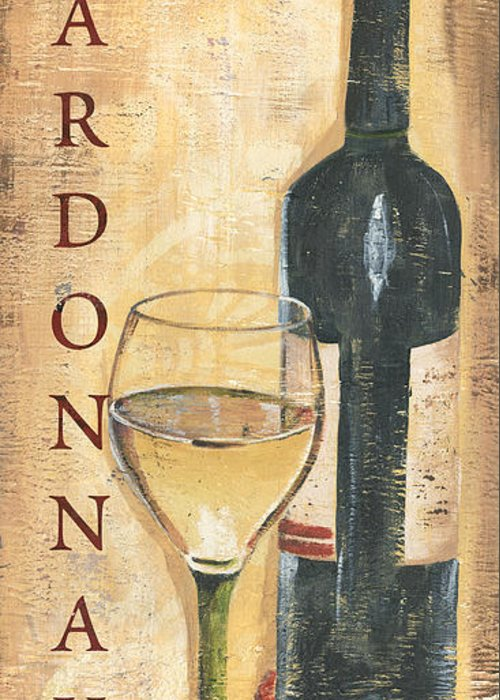 Wine Greeting Card featuring the painting Chardonnay Wine and Grapes by Debbie DeWitt