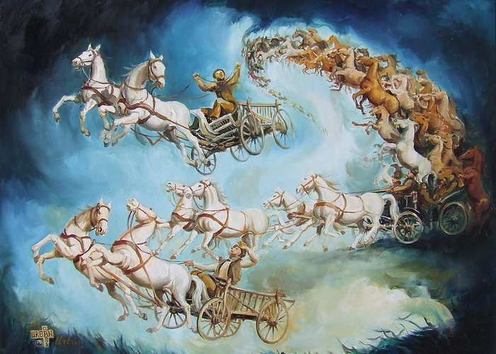 Horse Greeting Card featuring the painting Chariots In Storm by Gabor Urban