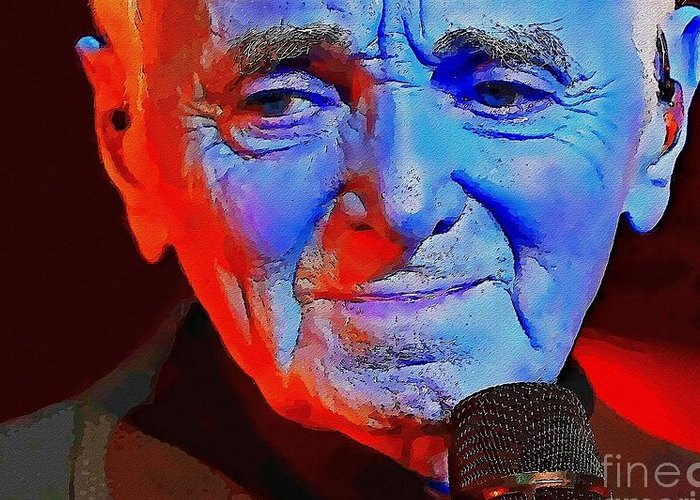 Charles Aznavour Greeting Card featuring the digital art Charles Aznavour by David Conin