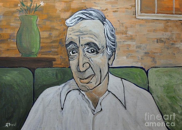 Charles Aznavour Greeting Card featuring the painting Charles Aznavour by Reb Frost