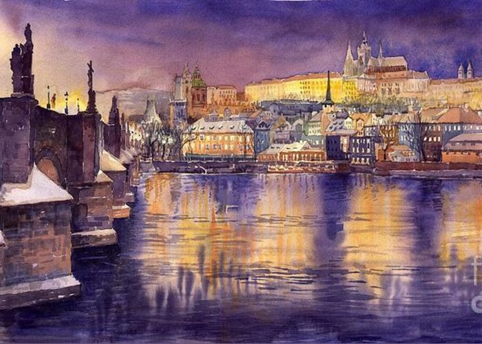 Cityscape Greeting Card featuring the painting Charles Bridge And Prague Castle With The Vltava River by Yuriy Shevchuk