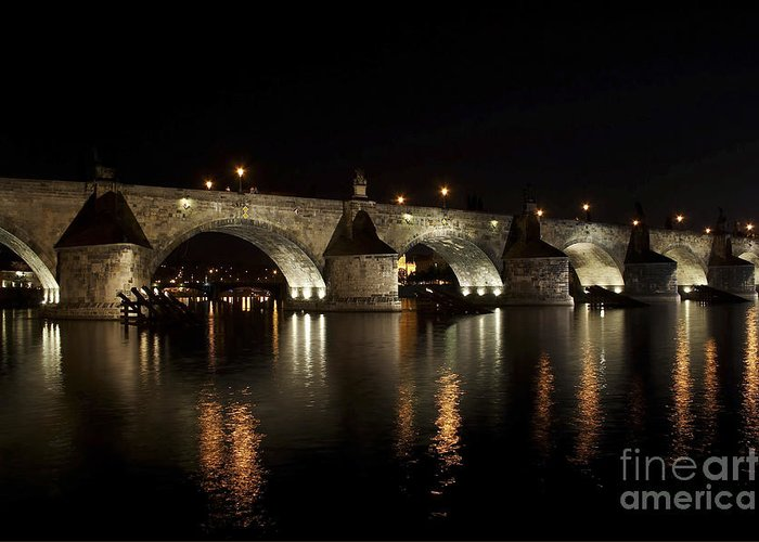 Bridge Greeting Card featuring the photograph Charles Bridge At Night by Michal Boubin