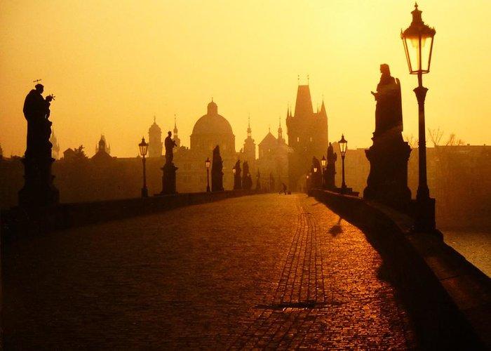 Charles Bridge Greeting Card featuring the photograph Charles Bridge Prague At Sunrise by Nigel Radcliffe