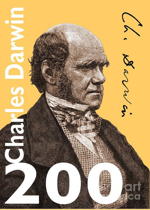 Charles Darwin Greeting Card featuring the digital art Charles Darwin 200 Yellow by Steve Wyburn