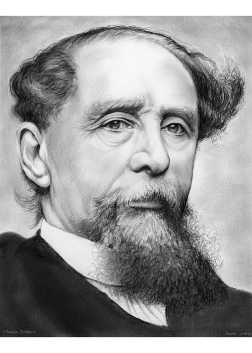 Charles Dickens Greeting Card featuring the drawing Charles Dickens by Greg Joens