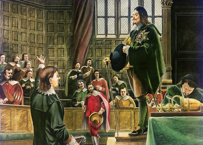 Charles Greeting Card featuring the painting Charles I In The House Of Commons by English School