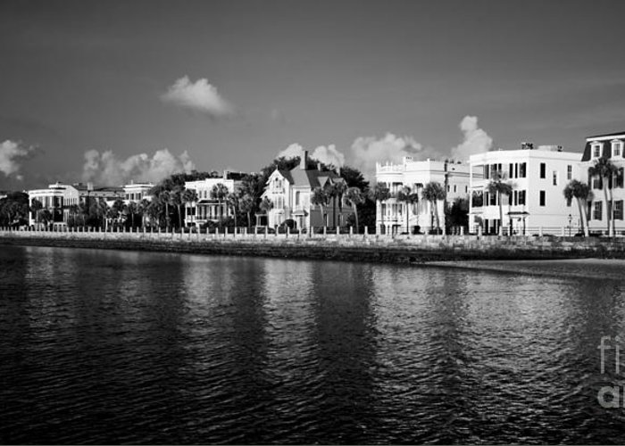 Battery Row Greeting Card featuring the photograph Charleston Battery Row Black And White by Dustin K Ryan