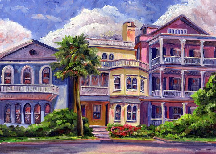 Colorful Historic Houses On The Charleston South Battery With Pastel Color And Blue Skies.. Greeting Card featuring the painting Charleston Houses by Jeff Pittman