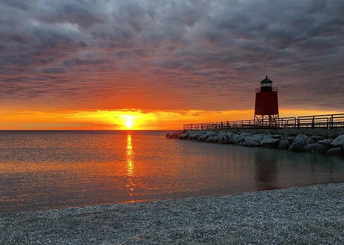 Charlevoix Greeting Card featuring the photograph Charlevoix Sunset by Megan Noble