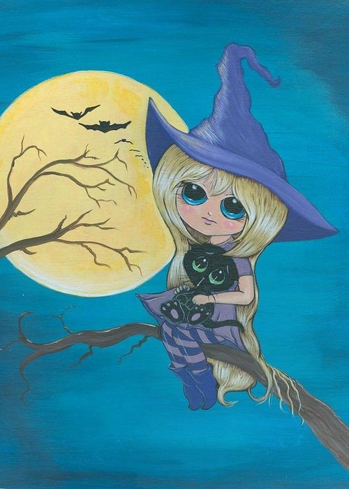 Witch Greeting Card featuring the painting Charlie And Jinx hanging out by Bonnie Brewer