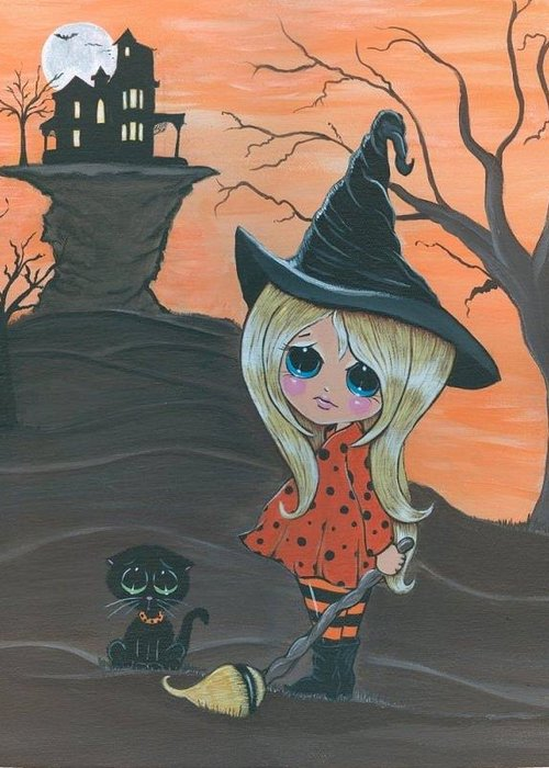 Witch Greeting Card featuring the painting Charlie and Jinx Home sweet Home by Bonnie Brewer