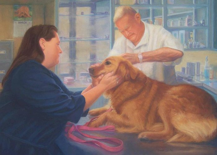 Charlie Greeting Card featuring the painting Charlie and the Vet by Diane Caudle