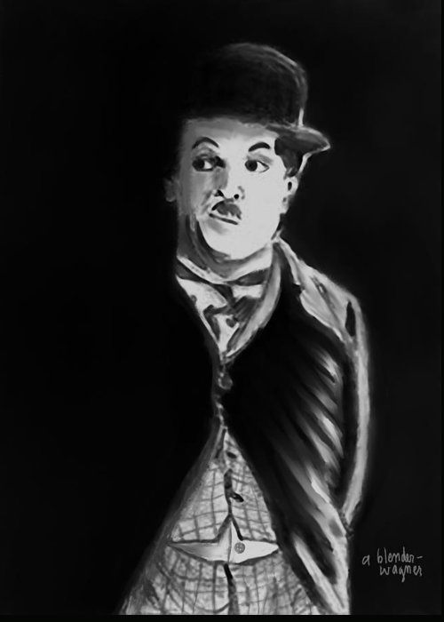 Charlie Chaplin Greeting Card featuring the digital art Charlie by Arline Wagner