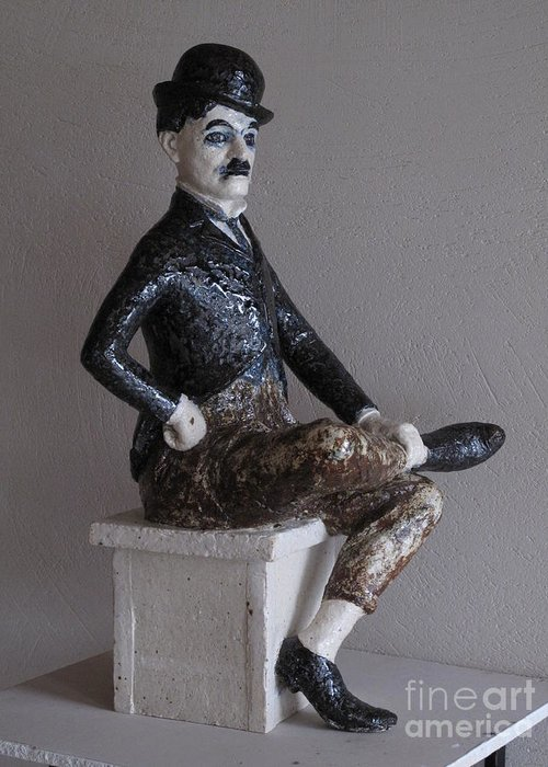 Charlie Chaplin Greeting Card featuring the sculpture Charlie Chaplin by Raimonda Jatkeviciute-Kasparaviciene