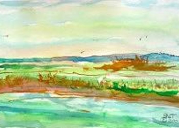 Landscape Greeting Card featuring the painting Charlie Lake by Lloyd Bast