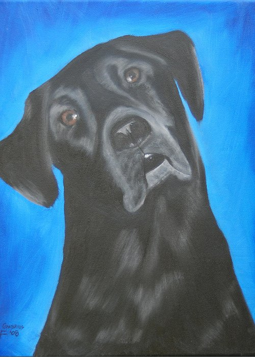 Portrait Greeting Card featuring the painting Charlie by Lisa Gabrius