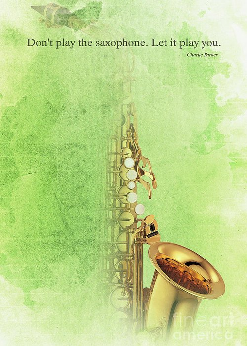 Gift For Musicians Greeting Card featuring the painting Charlie Parker Saxophone Green Vintage Poster And Quote, Gift For Musicians by Drawspots Illustrations