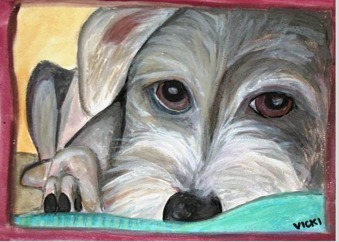 Sad Dog Greeting Card featuring the painting Charlie by Victoria Hasenauer