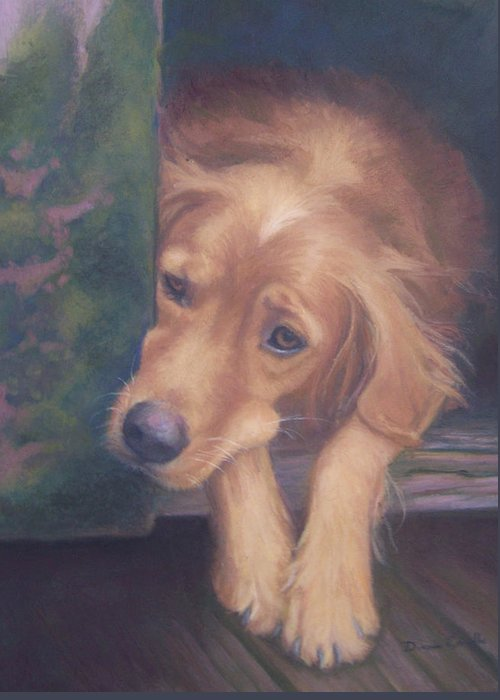 Charlie Greeting Card featuring the painting Charlie's In The Doghouse by Diane Caudle