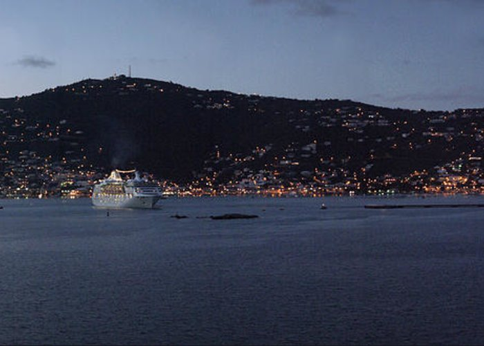 Charlotte Amalie Greeting Card featuring the photograph Charlotte Amalie At Dusk by Gary Lobdell