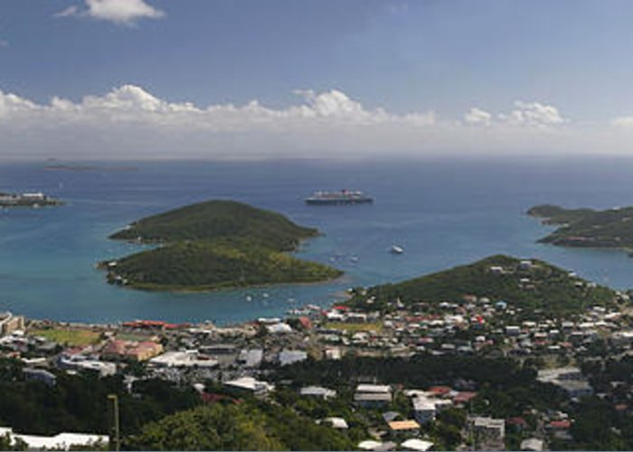 Charlotte Amalie Greeting Card featuring the photograph Charlotte Amalie From Above by Gary Lobdell
