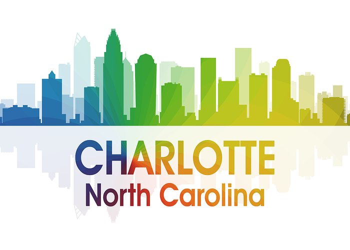 City Silhouette Greeting Card featuring the digital art Charlotte Nc by Angelina Vick