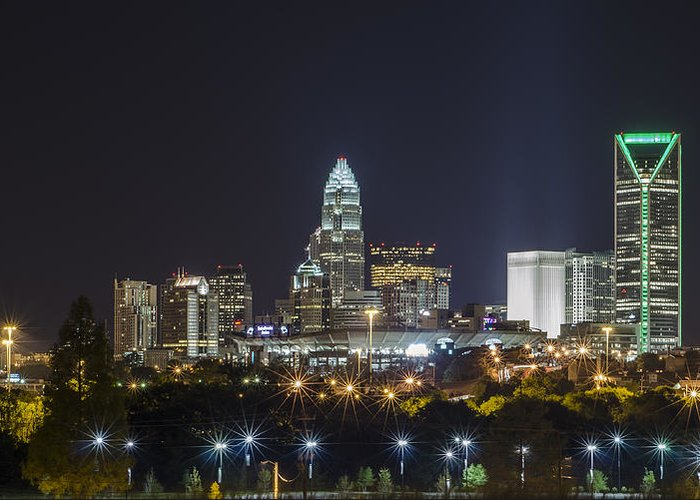 Cityscape Greeting Card featuring the photograph Charlotte Night by Brian Young