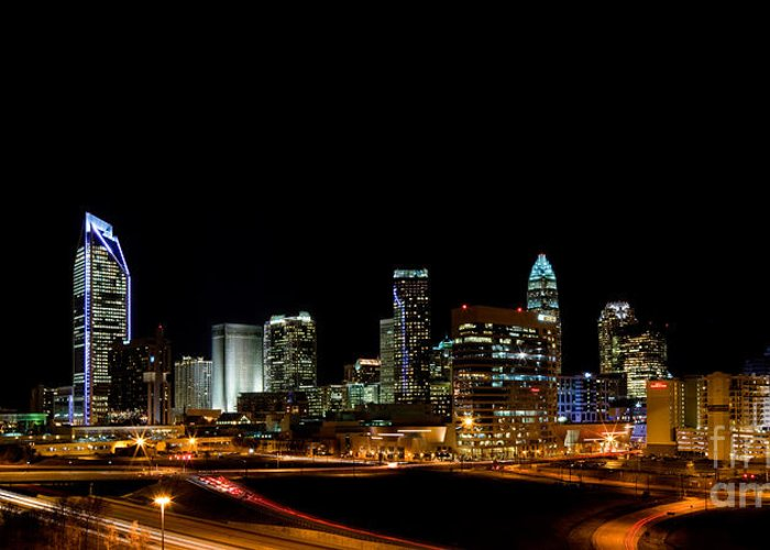 Charlotte Nc Photography Greeting Card featuring the photograph Charlotte Skyline Panoramic by Patrick Schneider