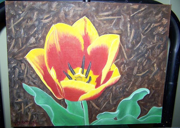 Flowers Tulips Greeting Card featuring the painting Charlottes First Tulip 2008 by Charles Vaughn