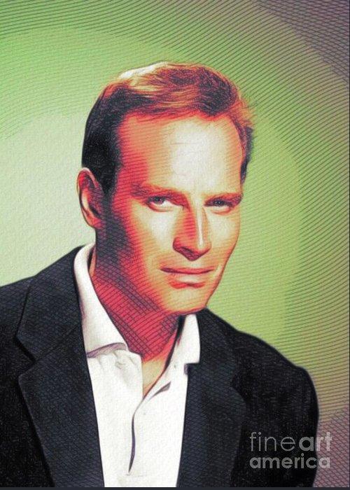 Charlton Greeting Card featuring the digital art Charlton Heston, Hollywood Legends by John Springfield