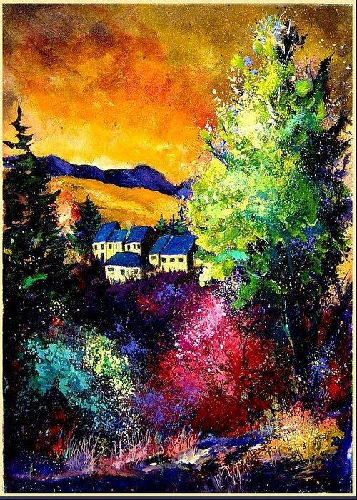Landscape Greeting Card featuring the painting Charnoy by Pol Ledent