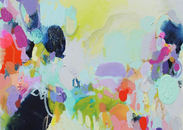 Abstract Greeting Card featuring the painting Chartreuse Stop by Claire Desjardins