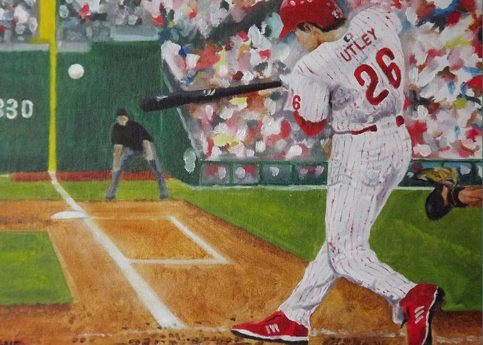 Ballpark Greeting Card featuring the painting Chase by Al Fonollosa