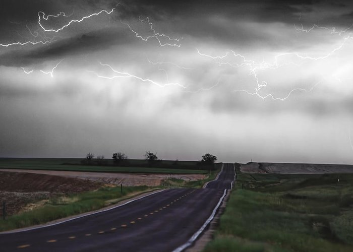 \boardroom Art\ Greeting Card featuring the photograph Chasing The Storm - Bw And Color by James BO Insogna
