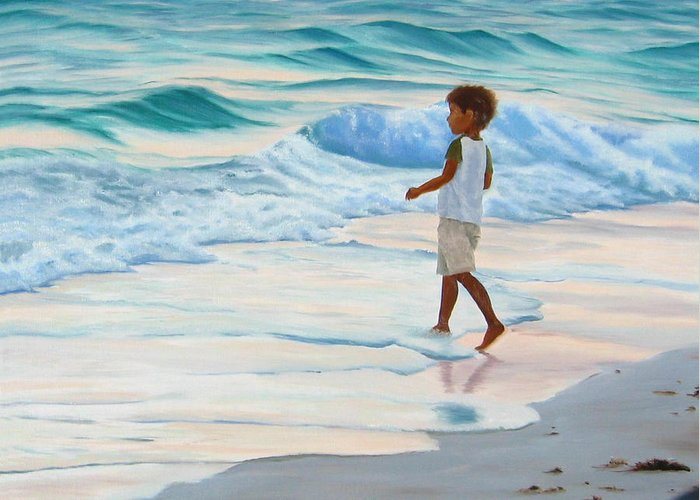 Child Greeting Card featuring the painting Chasing The Waves by Lea Novak