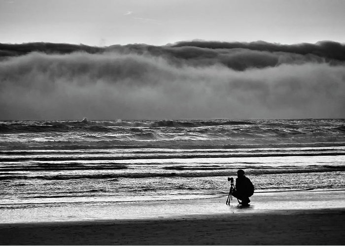 Cannon Beach Greeting Card featuring the photograph Chasing Tide And Light by Steven Clark