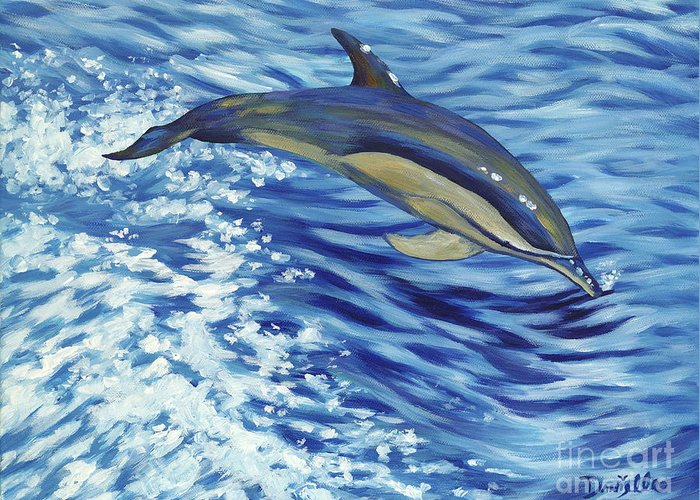 Atlantic Greeting Card featuring the painting Chasing You by Danielle Perry