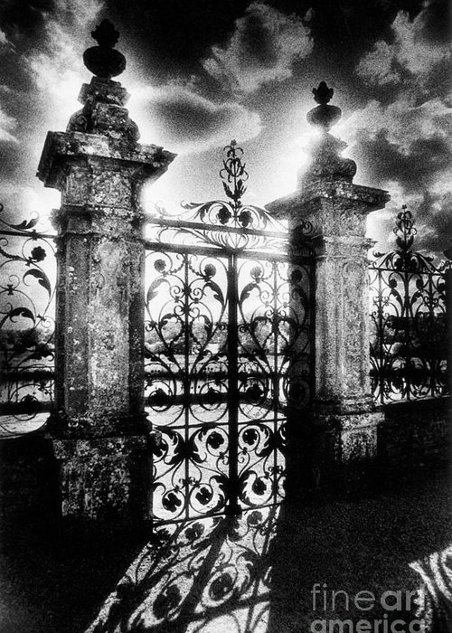 Gate; Wrought Iron; Posts; Pillars; Entrance; Portal; Grand; Grandiose; French; Metalwork; Ornate; Atmospheric; Spooky; Eerie; Fairytale; Moonlit; Moonlight; Dramatic; Portal; Castle; Renaissance; Baroque Greeting Card featuring the photograph Chateau De Carrouges by Simon Marsden