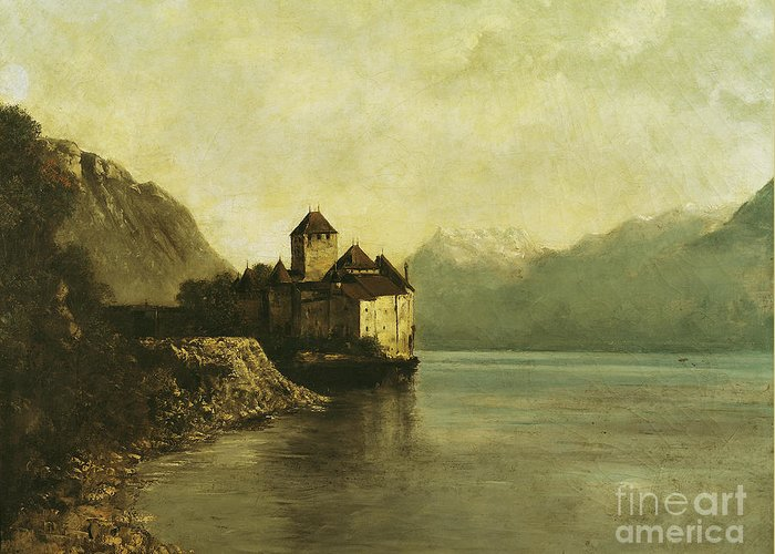 Chateau Greeting Card featuring the painting Chateau De Chillon by Gustave Courbet