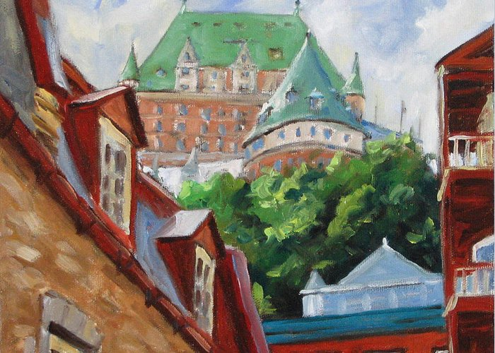 Chateau Frontenac Greeting Card featuring the painting Chateau Frontenac by Richard T Pranke
